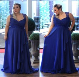Wholesale Fashion Royal Blue Plus Size Dresses For Women Formal Occasion Spaghetti Straps Draped Chiffon Long Prom Dress Gowns Custom