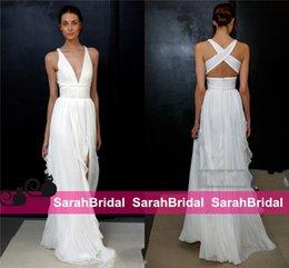 Wholesale 2017 Sheath Wedding Dresses for Greek Goddess Fashion Brides Wear Sale Cheap Long Pleated Slit Full Length Skirt Bohemian Boho Bridal Gowns
