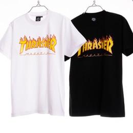 Wholesale 2016 Thrasher Skateboard T Shirts Tees Mens Boys Hip Hop Oversized White Black T shirts Tops Baskeball Jersey Tees LLWF0512