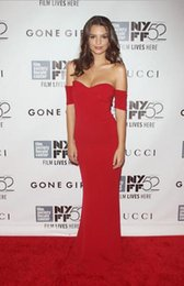 Wholesale Simple Red de la celebridad de la alfombra roja vestidos de noche de la pista de la sirena del hombro formal largo de fin de curso de los vestidos barato
