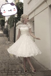 Wholesale vintage Short Sleeve Lace Wedding Dresses Ribbon Sash knee length A Line Bridal Gowns