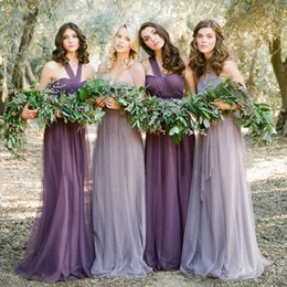 Wholesale purple lilac lavender cheap bridesmaid dress chiffon maid of honor beach country wedding guest dress Convertible prom party