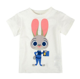 Wholesale 2016 Summer Brand Zootopia Zootropolis children Kids Short Sleeve Lovely Judy printed T Shirts boy girs cotton shirt cc335