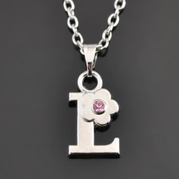 crystal letter l message necklace