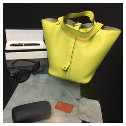 2017 deep shop Mini Fashion Picotin Lock Bag Togo Shopping Bag 18cm 20 Color 2016 Famous Luxury Brand Designer Women Genuine Leather Tote Original Quality
