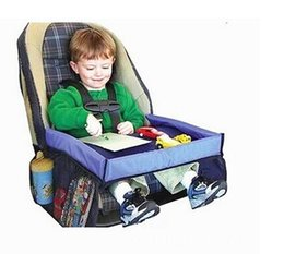 Los niños pequeños bebé de coche de seguridad desplazamiento de la cinta Juego de bandeja resistente al agua mesa plegable del asiento de coche de bebé arnés de la cubierta con errores Cochecito Bocado