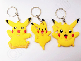Wholesale Cartoon Pikachu Keyring Keychain Pocket Monster Keychain Double Side Silicone Doll Key Chain Collection Key ring QQA324