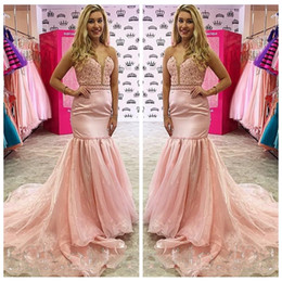 Wholesale 2017 Sexy Sweetheart Lace Corset Mermaid Prom Dresses Organza Sweep Train Formal Special Women Occasion Evening Party Gowns Customized