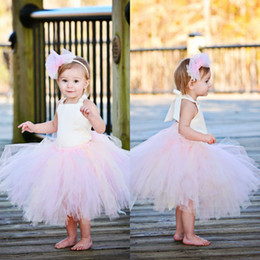 Wholesale White and Pink Puffy Tulle Flower Girls Dresses Cheap Baby Girls Casual Tutu Skirts Toddler Party Ball Gowns First Communion Dresses MC0212