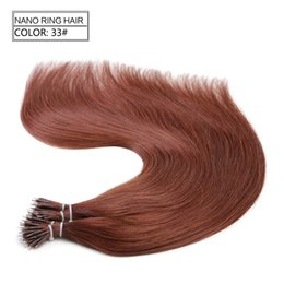 Discount nano micro loop hair extensions 1g pc 200pcs lot Nano Rings Tip Human Hair Extensions 33# Straight Softest Hair 100% Remy Fashion Loop Micro Ring Hair Extensions