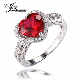 jewelrypalace heart of ocean 27ct created red ruby love forever halo promise ring 925 sterling silver wedding ring fine brand ocean wedding rings on sale - Wedding Rings On Sale