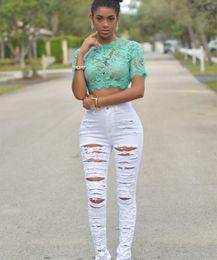 Wholesale 2016New Designer Denim Women High Waist Ripped Jeans for Women Skinny Black White Jeans Woman Elastic Slim Jean Female Femme