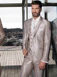 Wholesale Cool High Quality Groom Tuxedos Groomsmen Side Vent Slim Fit Best Custom Made Man Suit Wedding Men s Suits Bridegroom Jacket Pants Vest