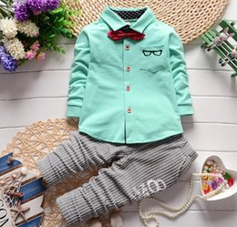 Wholesale Spring of new children s clothing Children Suit Boys Outfit bow tie shirt stripe casual pants Boy Suit Toddler Newborn Set Baby Wear