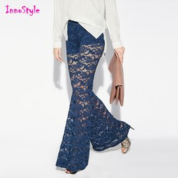 Wholesale Crochet lace sexy pants for womens layered blue cut out pants for ladies black sheer pants wide leg trousers plus size palazzo trousers