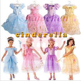 Wholesale Kids Princess Pageant Dress Costume Cinderella Dress Dance Party Wedding Dress Prom Fancy Frozen Dress Ball Gown A line Bubble Dress A709