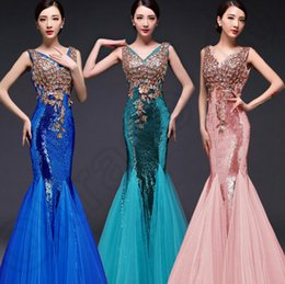 Wholesale Sexy Long Mermaid Bridesmaid Dress Sequin Embroidered Fishtail Formal Dress Party Mermaid Evening Dresses Invisible Zipper Designs JJA35