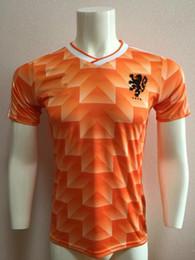 Envío gratuito calidad de Tailandia Holanda uniforme retro 90 mangas cortas jersey, 1990 Holanda retro jersey, 90 Holland camisas retro