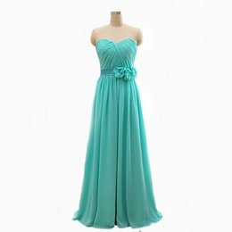 Wholesale Real Picture A Line Sweetheart Off The Shoulder With Flower Belt Mint Green Coral Plus Size Cheap Bridesmaid Dress