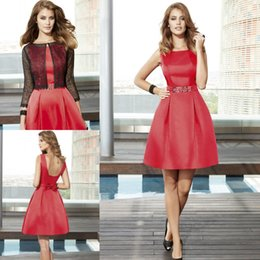 Wholesale Red Backless Homecoming Dresses A Line Jewel Neckline Pleated Cheap Graduation Dress With Bow Short Mini Prom Gowns For Women