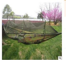 260x130cm Portable Outdoor Garden Army Verde / Camo Paracaídas de alta resistencia Fabri Camping Mosquito Hamaca con mosquiteras