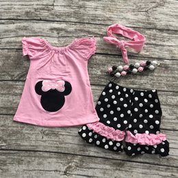 Wholesale 2016 new hot sell baby girls pink minnie mouse shorts clothes set outfits with matching necklace and headband set