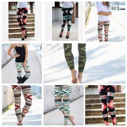 Mulheres Leggings Slim Lápis Calças Calças Moda Casual Elastic Geométricas Imprimir Leggings Calças Stretchy Casual Skinny 10PCS KKA538