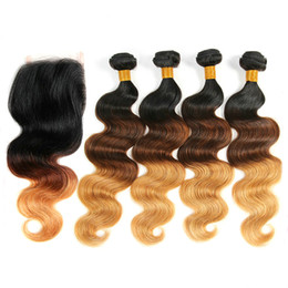 2017 ombre weaves closure Ombre Body Wave 3 Pieces Human Hair Bundles With Closure Three Tone Colored Wavy Indian Weaves And Silk Top Closures 1B 4 27 cheap ombre weaves closure