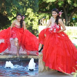 Wholesale Red Appliqued robes de Quinceanera chérie Décolleté Lace up Retour Tiered Jupe Masquerad boule Robes organza perlée Robe Debutante