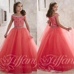Wholesale 2016 Sparkly Pageant Dresses for Teens Off The Shoulder Beaded Crystal Tulle Floor Length Lace up Back Orange Girls Prom Dresses