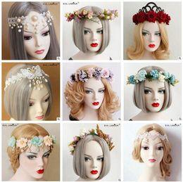 Discount wreath accessories Lady Artificial Flower Hair Wreath Women Garland Outdoor Lace Beach Headbands Bride Bohemian Flower Headband Wedding Hair Accessories 588