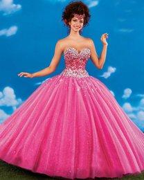Wholesale Luz púrpura hinchados Quinceañera vestidos de novia vestidos de moldeado cristalino del dulce de la mascarada de los vestidos de los vestidos de bola del Debutante