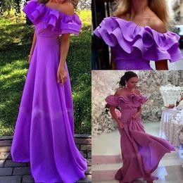 Wholesale Arabic Dubai Long Evening Dresses With Off Shoulder Ruffle Abaya Kaftan Prom Dresses Black Women Formal Gowns Evening Wear
