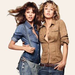 Wholesale New Spring and Autumn Large size women clothing European and American retro suede nap washed denim fashion Slim women shirt
