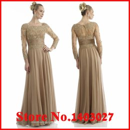 Wholesale Gold Lace Mother Of The Bride Dress Elegant Party Evening Dress Sheath Mother Dress With Long Sleeve Chiffon Dress