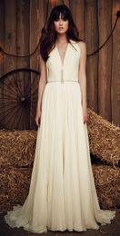 Wholesale Jenny Packham Summer Beach Bohemian A Line Wedding Dresses V Neck Cap Sleeves Ivory Chiffon Cheap Boho Bridal Gowns For Outdoor