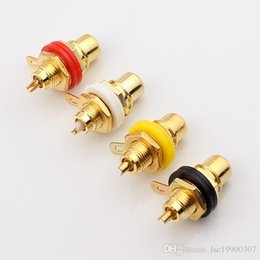 Discount multimedia panel Gold Plated RCA Terminal Jack Plug Female Socket Chassis Panel Connector for Amplifier Speaker
