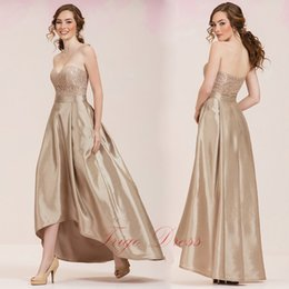 Wholesale Strapless Sweetheart Neckline Latte Bridesmaid Dress with Refined Lace Top Hi Lo Skirt Zipper Up and convenient pockets Wedding Guest Dress