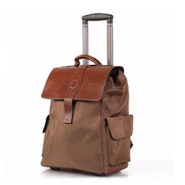 20 pulgadas de alto grado equipaje de mano de tela Oxford recorrido impermeable maleta del recorrido del bolso de la carretilla en las ruedas de embarque de equipaje de asas Mochila JO0026