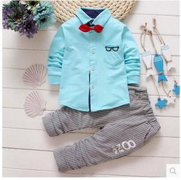 Wholesale Long sleeve boys suit spring and autumn Pure cotton Fashion children clothes long sleeve shirt baby clothing leisure two piece