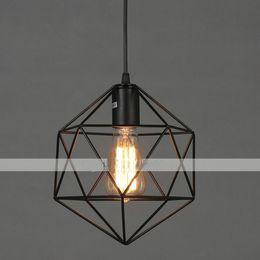 Modern Iron Chandeliers: E27 Dia25cm Geometrical Line Diamond Wrought Iron Chandelier Pendant Lights  LED Modern Contemporary for Living Room Kitchen Garage,Lighting