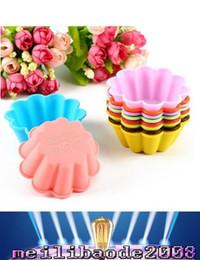 flor de silicona torta del molde 10 colores 7.5CM FDA hornear tazas de silicona Mini mollete tazas taza de pudín ENVÍO GRATIS MYY