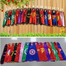 Wholesale Superhero cape cm Double layer Super Hero Costume for Children Halloween Party Costumes for Kids Children s Costume A