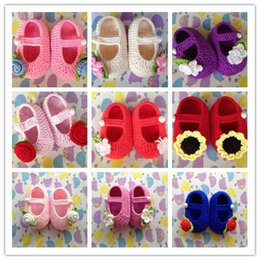 online shopping Hot Sale newborn Baby Crochet Shoes Rose Flower Sun Flower Pattern Many Color Cotton baby girls slippers shoes