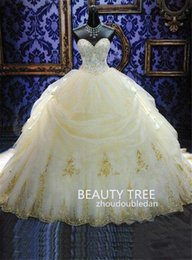 Wholesale Elegant Sweetheart Ball Gowns Quinceanera Dresses Organza Gold Appliques Beaded Masquerade Debutante Gowns Plus Size Sweet Dress bt208
