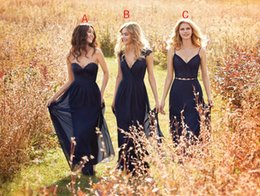 Wholesale Vintage Navy Blue A Line Chiffon Long Bridesmaid Dresses Cheap Hayley Paige Sweetheart Two Pieces Bridesmaids Prom Dresses