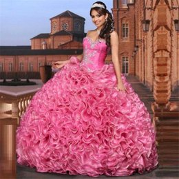 Wholesale Cheap Pink Quinceanera Dresses Ball Gowns Party Sweetheart Arabic Ruffles Organza Beading Sweet Dresses Years Gowns Liyatt Aramex