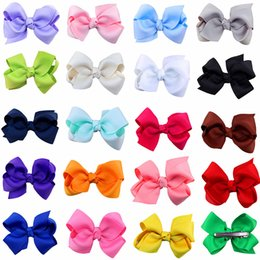 Wholesale High Quality Grosgrain Ribbon Bows For Hair Bows Hairpin Children Hair Accessories Baby Hairbows Girl Flower Hair Clip color Spring