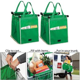 Wholesale Supermarket Shopping Bag Foldable Tote Reusable Big Size Washable Eco friendly Grab Bag Green Trolley Bag Clips to Cart