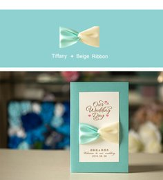 Wholesale Two Colors Robbon Bow Wedding Invitation Cards Personalized Wedding Party Printable Invitation Cards with Ribbon Bow cm